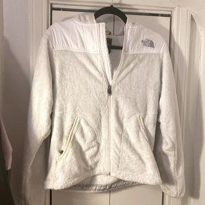 NORTHFACE ladies hooded white furry jacket